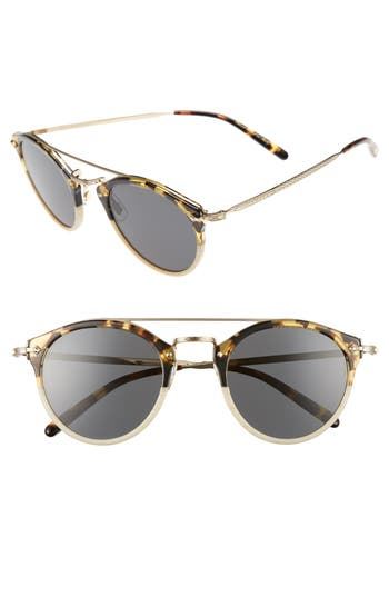 Oliver Peoples Remick 50Mm Brow Bar Sunglasses - Beige/ Grey