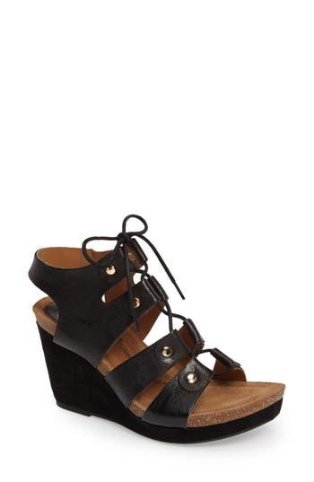 Women's Sofft Carita Lace-Up Wedge Sandal, Size 7.5 M - Black