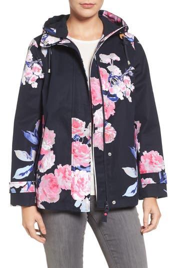Joules Right As Rain Print Waterproof Hooded Jacket, Blue