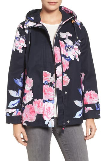 Women's Joules Right As Rain Print Waterproof Hooded Jacket