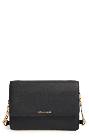 Michael Michael Kors Large Daniela Leather Crossbody Bag - Black