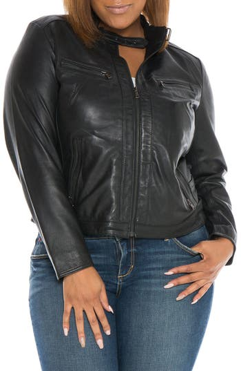 Plus Size Women's Slink Jeans Fitted Leather Moto Jacket