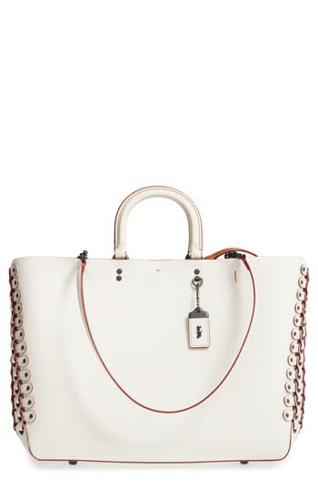 Coach 1941 Rogue Linked Leather Tote - White