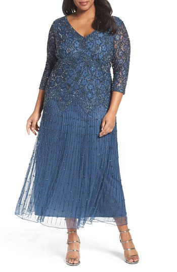 1920s Plus Size Dresses, Gatsby Dresses, Flapper Costumes Plus Size Womens Pisarro Nights Beaded V-Neck Lace Illusion Gown Size 22W - Blue $238.00 AT vintagedancer.com
