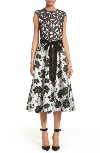 Women's Monique Lhuillier Lace & Jacquard Tea Length Dress