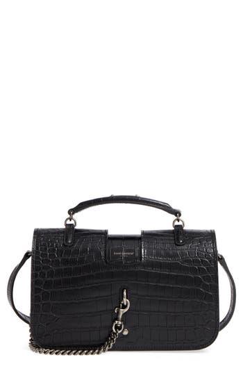 Saint Laurent Croc Embossed Leather Messenger Bag - Black