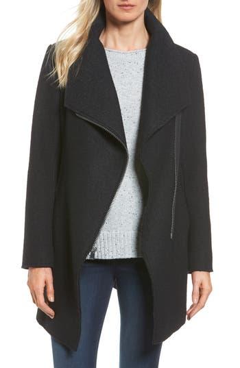 Women's Halogen Asymmetrical Zip Boiled Wool Blend Coat