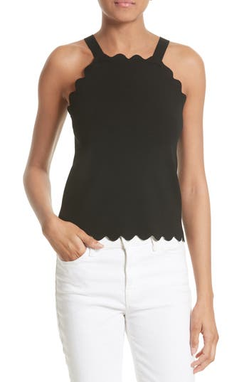 Women's Milly Scallop Knit Tank, Size Medium - Black