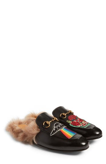 Gucci Leathers PRINCETOWN GENUINE SHEARLING LINED MULE LOAFER