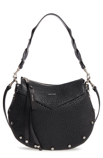 Jimmy Choo Artie Studded Leather Hobo Bag - Black