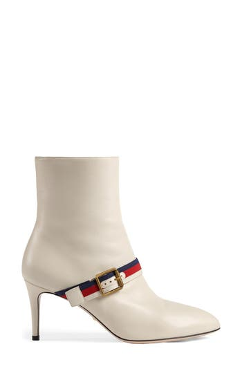 Gucci Sylvie Strap Ankle Boot, White