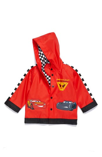 Boy's Western Chief Lightning Mcqueen Hooded Raincoat, Size 5 - Red