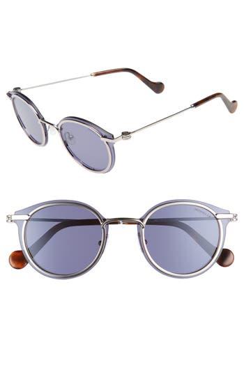 Moncler 5m Mirrored Round Sunglasses - Shiny Light Ruthenium / Blue
