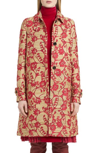 Women's Valentino Flower Circles Jacquard Coat, Size 8 - Pink
