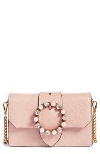 Miu Miu Lady Madras Crystal Embellished Leather Crossbody Bag - Pink