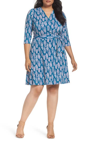 Plus Size Women's Leota Wrap Dress, Size 3X - Blue