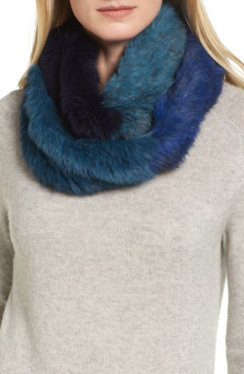 Women's Jocelyn Colorblock Genuine Rabbit Fur Infinity Scarf