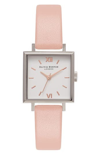 Women's Olivia Burton Square Leather Strap Watch, 23Mm