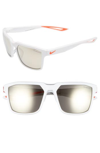 Men's Nike Bandit R 59Mm Sunglasses - Matte White/ Bright Crimson