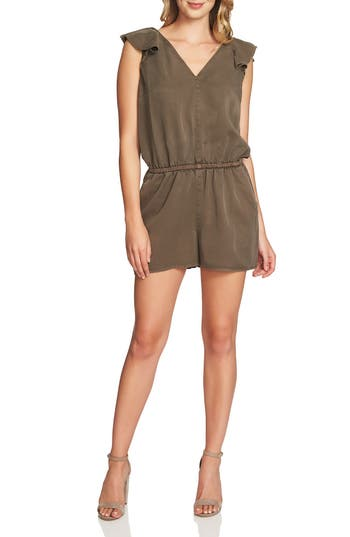 Women's 1.state Ruffle V-Neck Romper, Size XX-Small - Green