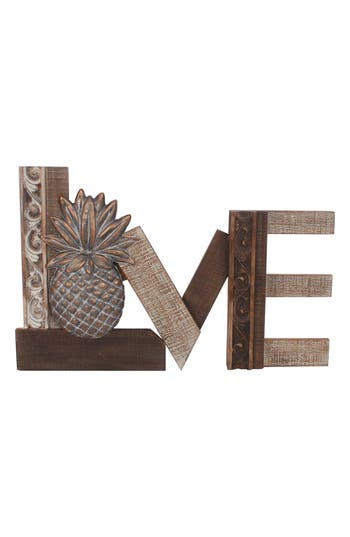 Crystal Art Gallery Love Pineapple Distressed Wooden Wall Art, Size One Size - Brown