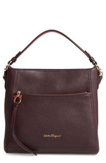 Salvatore Ferragamo Medium Leather Top Handle Tote - Purple