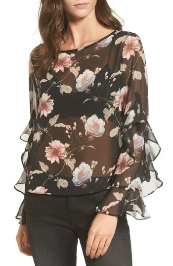 Women's Soprano Floral Print Sheer Top, Size X-Small - Black