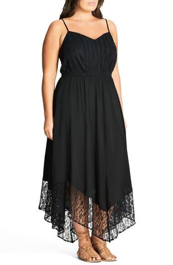 Plus Size Women's City Chic Lace Trim Maxi Dress, Size X-Small - Black