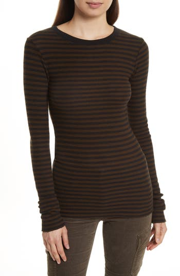 Women's Vince Railroad Stripe Crewneck Sweater, Size X-Small - Brown