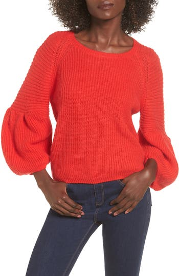 Women's Leith Bubble Sleeve Sweater, Size X-Small - Red