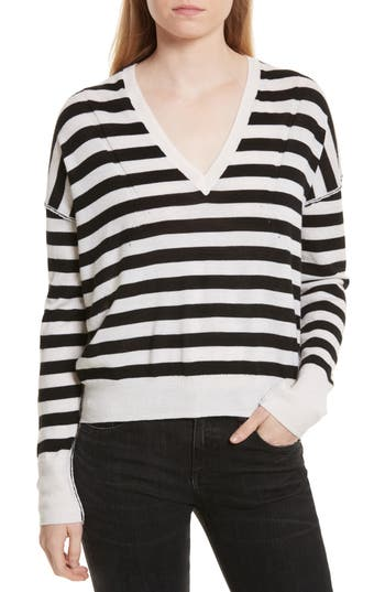 Women's Rag & Bone/jean Bevan Stripe Wool Sweater, Size X-Small - White