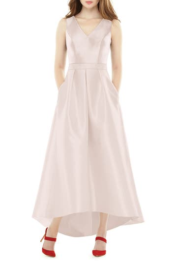 Alfred Sung High/low Sateen Twill Gown, Pink
