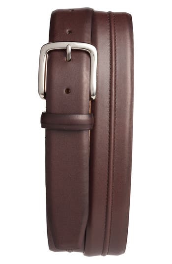 Cole Haan Pinched Seam Leather Belt, Chestnut