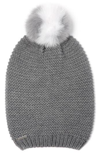 Women's Soia & Kyo Slouchy Knit Beanie With Genuine Fox Fur Pompom - Grey