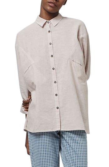 Women's Topshop 'Ivy' Oversize Chambray Shirt, Size 12 US (fits like 14) - Pink