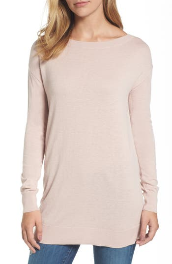 Women's Halogen Boatneck Tunic Sweater, Size X-Small - Pink