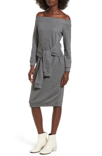 Women's Soprano Tie Front Off The Shoulder Sweatshirt Dress, Size Medium - Grey