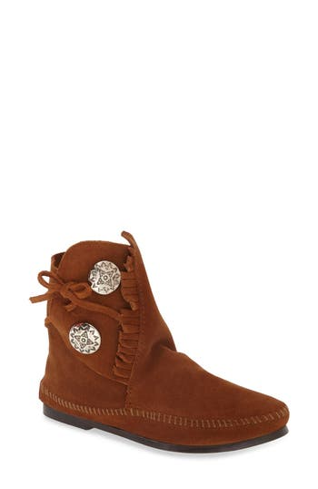 Minnetonka Two-Button Hardsole Bootie, Brown