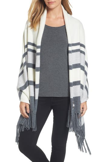 Women's Nordstrom Collection Stripe Cashmere Wrap, Size One Size - Ivory