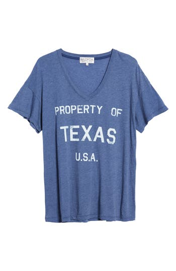Women's Wildfox Property Of Texas Tee, Size X-Small - Blue