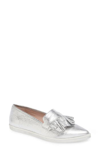 Women's James Chan Taraji Ruffle Slip-On Sneaker, Size 11 M - Metallic