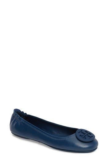 MINNIE TRAVEL BALLET FLAT, LEATHER 228 Light Oak Symphony Blue
