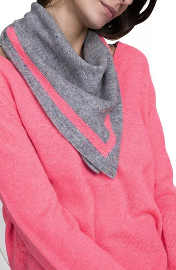 Women's White + Warren Tipped Cashmere Scarf, Size One Size - Grey
