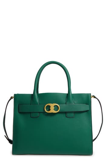Tory Burch  GEMINI LINK LEATHER TOTE - GREEN