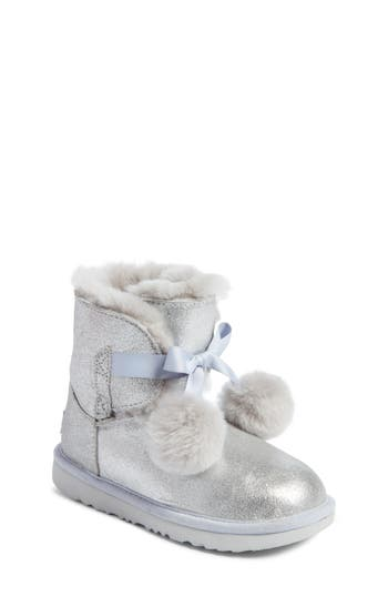 Toddler Girl's Ugg Gita Metallic Genuine Shearling Pom Bootie