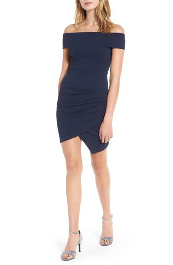 Women's Soprano Off The Shoulder Envelope Hem Dress, Size X-Small - Blue