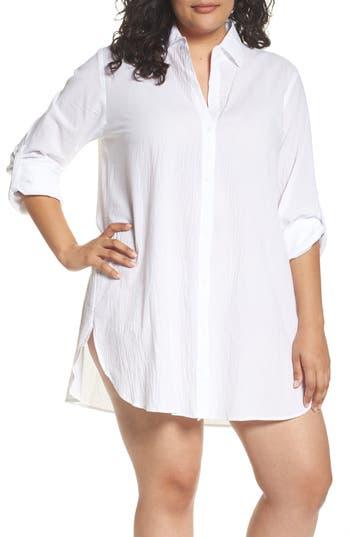 Plus Size Tommy Bahama Boyfriend Shirt Cover-Up, White