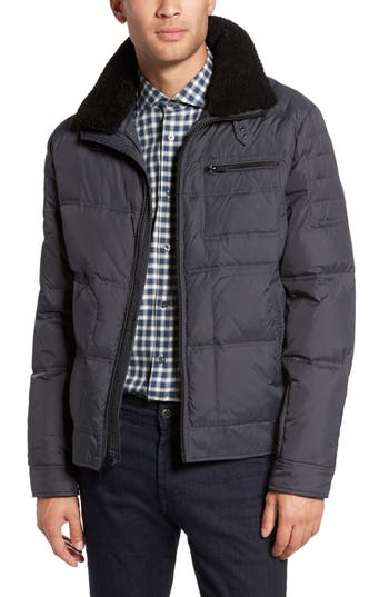 Reaction Kenneth Cole Faux Shearling Trim Down & Feather Fill Jacket, Grey