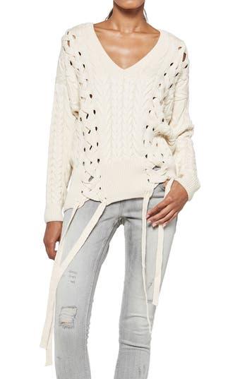 Women's Alpha & Omega Oversize Sweater, Size Medium - Ivory