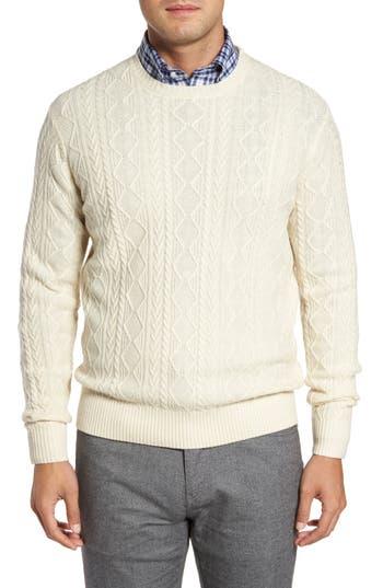 Men's Vintage Style Sweaters – 1920s to 1960s Mens Peter Millar Crown Wool Blend Fisherman Sweater Size X-Large - Black $265.00 AT vintagedancer.com